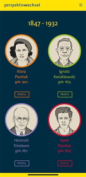 4 Protagonisten erzählen in der App Perspektivwechsel vom Leben und Arbeiten rund um Zollverein.