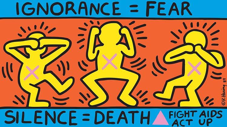 Keith Haring Ignorance = Fear, 1989 Offset-Lithografie auf Papier, 61,1 x 109,1 cm Sammlung Noirmontartproduction, Paris © Keith Haring Foundation